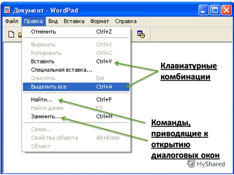 Клавиатурные комбинации Команды, приводящие к открытию диалоговых окон