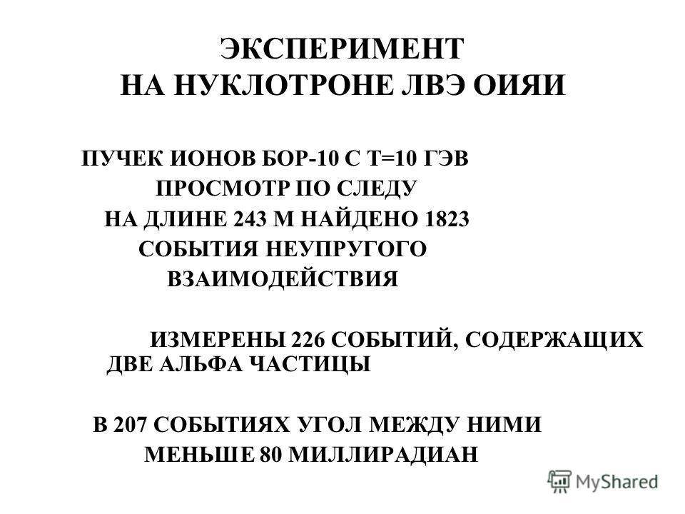 ЭКСПЕРИМЕНТ НА НУКЛОТРОНЕ ЛВЭ ОИЯИ ПУЧЕК ИОНОВ БОР-10 С Т=10 ГЭВ ПРОСМОТР ПО СЛЕДУ НА ДЛИНЕ 243 М НАЙДЕНО 1823 СОБЫТИЯ НЕУПРУГОГО ВЗАИМОДЕЙСТВИЯ ИЗМЕРЕНЫ 226 СОБЫТИЙ, СОДЕРЖАЩИХ ДВЕ АЛЬФА ЧАСТИЦЫ В 207 СОБЫТИЯХ УГОЛ МЕЖДУ НИМИ МЕНЬШЕ 80 МИЛЛИРАДИАН
