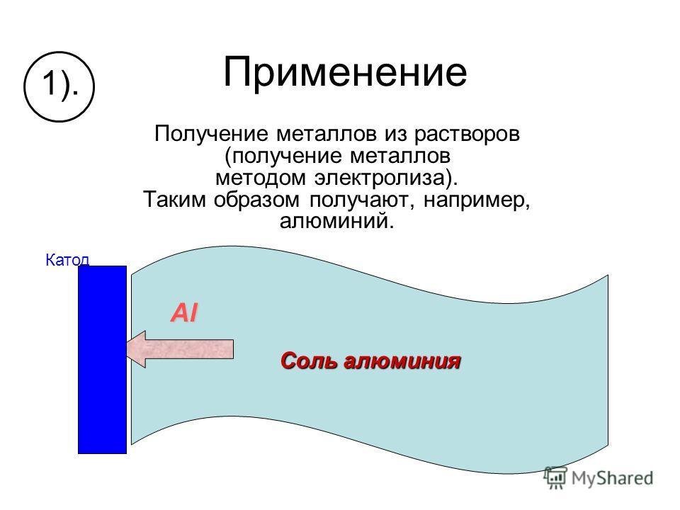Применение Получение металлов из растворов (получение металлов методом электролиза). Таким образом получают, например, алюминий. 1). Катод Соль алюминия Al