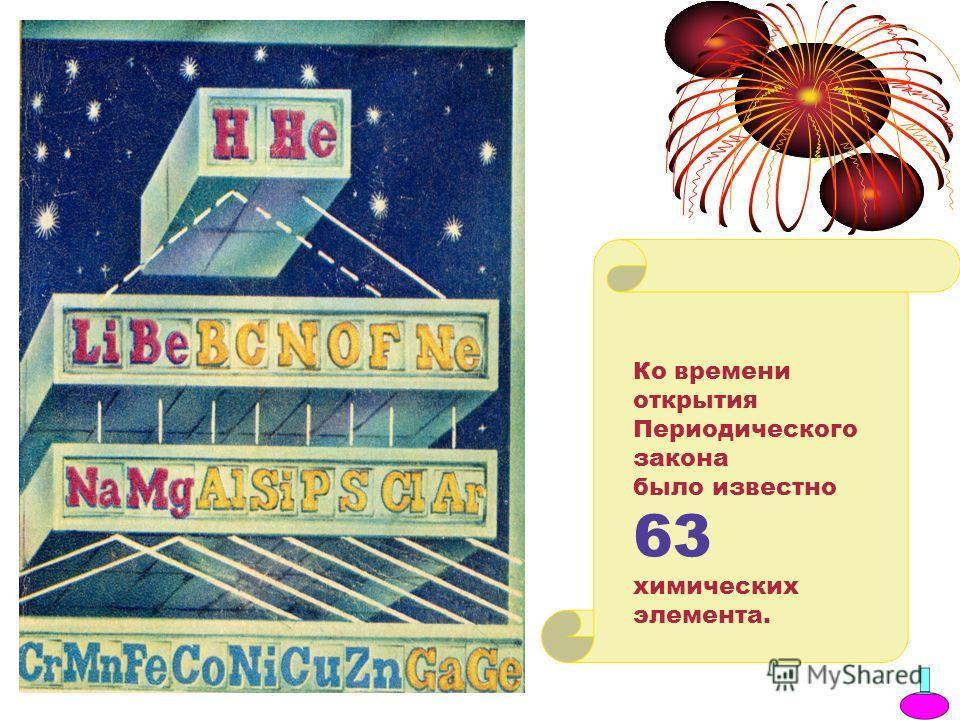 Ко времени открытия Периодического закона было известно 63 химических элемента.