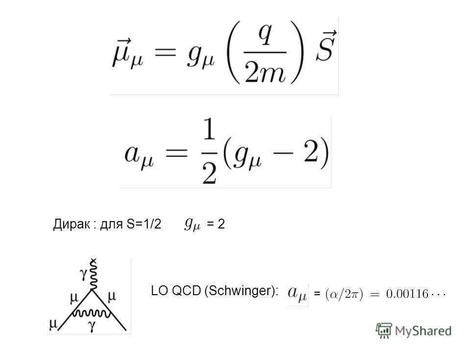 Дирак : для S=1/2= 2 LO QCD (Schwinger): =