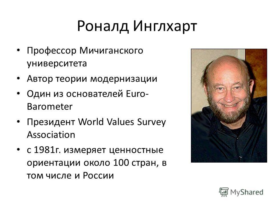 Роналд Инглхарт Профессор Мичиганского университета Автор теории модернизации Один из основателей Euro- Barometer Президент World Values Survey Association с 1981г. измеряет ценностные ориентации около 100 стран, в том числе и России
