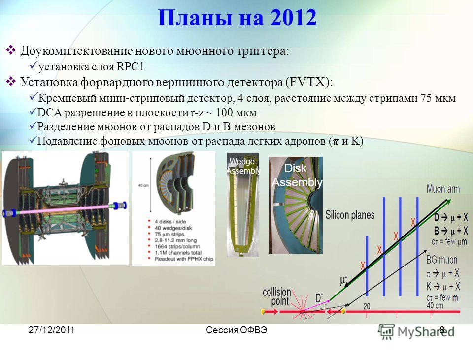 27/12/2011Сессия ОФВЭ8 Планы на 2012 Доукомплектование нового мюонного триггера: установка слоя RPC1 Установка форвардного вершинного детектора (FVTX): Кремневый мини-стриповый детектор, 4 слоя, расстояние между стрипами 75 мкм DCA разрешение в плоск
