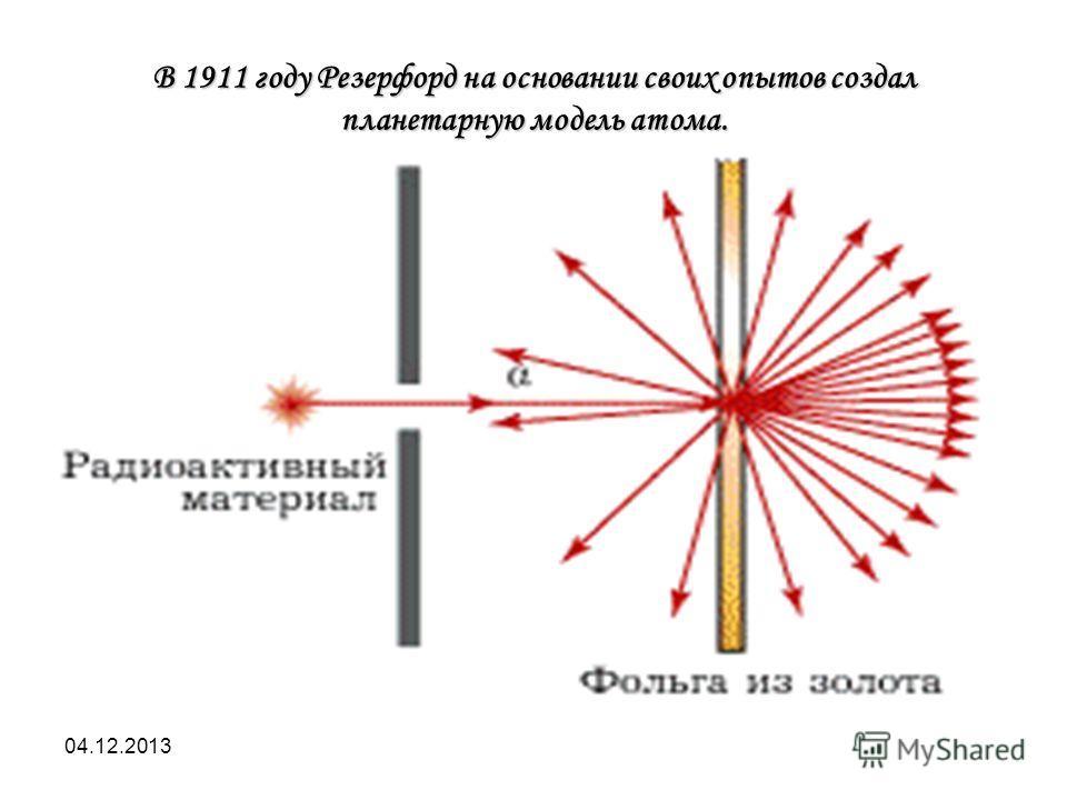 04.12.2013 В 1911 году Резерфорд на основании своих опытов создал планетарную модель атома.