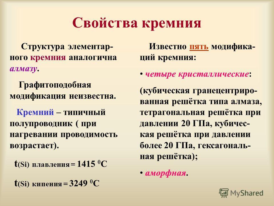 Свойства кремния Структура элементар- ного кремния аналогична алмазу. Графитоподобная модификация неизвестна. Кремний – типичный полупроводник ( при нагревании проводимость возрастает). t (Si) плавления = 1415 0 С t (Si) кипения = 3249 0 С Известно п