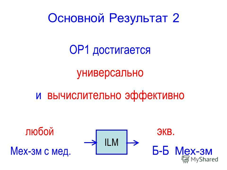 Основной Результат 2 ОР1 достигается универсально и вычислительно эффективно ILM Mех-зм с мед. Б-Б Mех-зм любой экв.