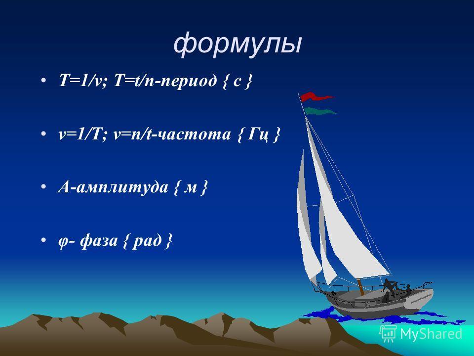 формулы Т=1/ν; Т=t/n-период { с } ν=1/Т; ν=n/t-частота { Гц } А-амплитуда { м } φ- фаза { рад }