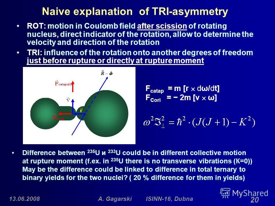 13.06.2008A. Gagarski ISINN-16, Dubna 20 Naive explanation of TRI-asymmetry ROT: motion in Coulomb field after scission of rotating nucleus, direct indicator of the rotation, allow to determine the velocity and direction of the rotation TRI: influenc