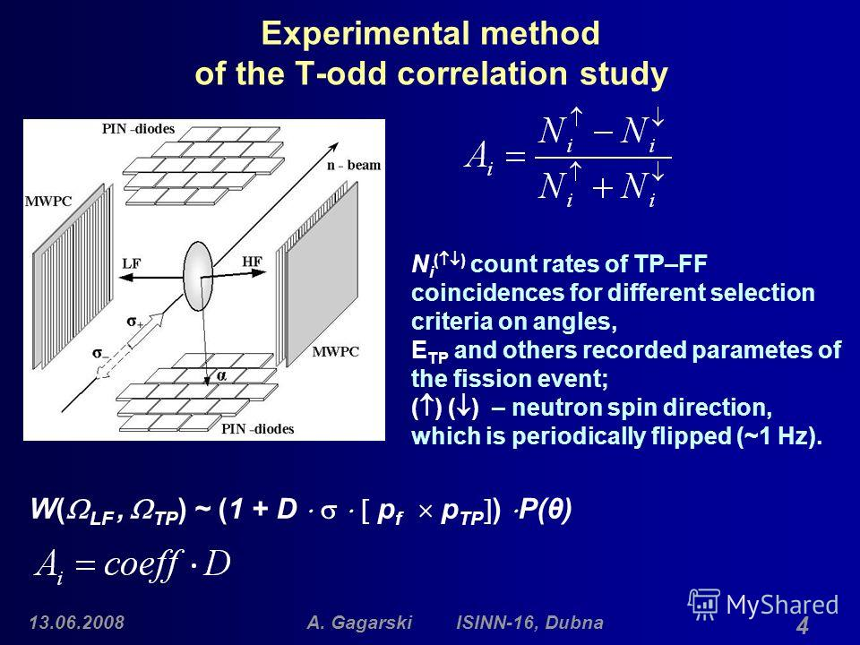 13.06.2008A. Gagarski ISINN-16, Dubna 4 Experimental method of the T-odd correlation study N i ( ) count rates of TP–FF coincidences for different selection criteria on angles, E TP and others recorded parametes of the fission event; ( ) ( ) – neutro