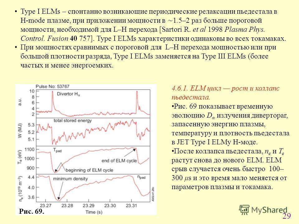 29 Type I ELMs – спонтанно возникающие периодические релаксации пьедестала в H-mode плазме, при приложении мощности в 1.5–2 раз больше пороговой мощности, необходимой для L–H перехода [Sartori R. et al 1998 Plasma Phys. Control. Fusion 40 757]. Type