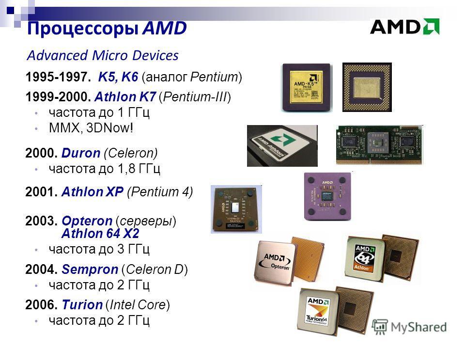 1995-1997. K5, K6 (аналог Pentium) 1999-2000. Athlon K7 (Pentium-III) частота до 1 ГГц MMX, 3DNow! 2000. Duron (Celeron) частота до 1,8 ГГц 2001. Athlon XP (Pentium 4) 2003. Opteron (серверы) Athlon 64 X2 частота до 3 ГГц 2004. Sempron (Celeron D) ча
