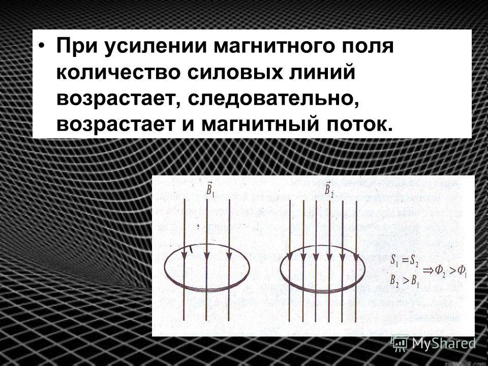 При усилении магнитного поля количество силовых линий возрастает, следовательно, возрастает и магнитный поток.
