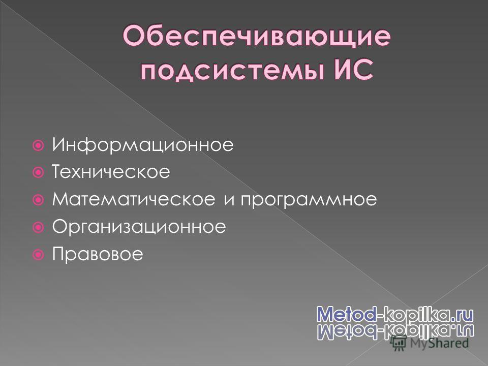 Информационное Техническое Математическое и программное Организационное Правовое