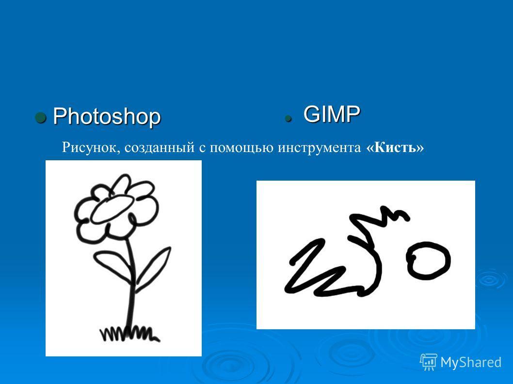 Photoshop Photoshop GIMP GIMP Рисунок, созданный с помощью инструмента «Кисть»
