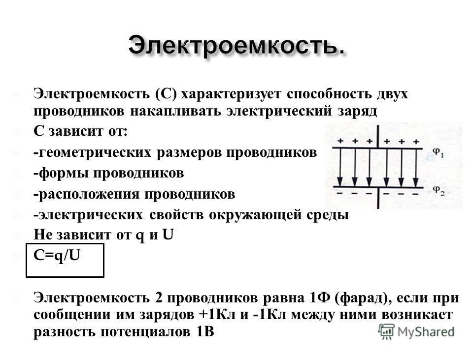 Электроемкость ( С ) характеризует способность двух проводников накапливать электрический заряд С зависит от : - геометрических размеров проводников - формы проводников - расположения проводников - электрических свойств окружающей среды Не зависит от
