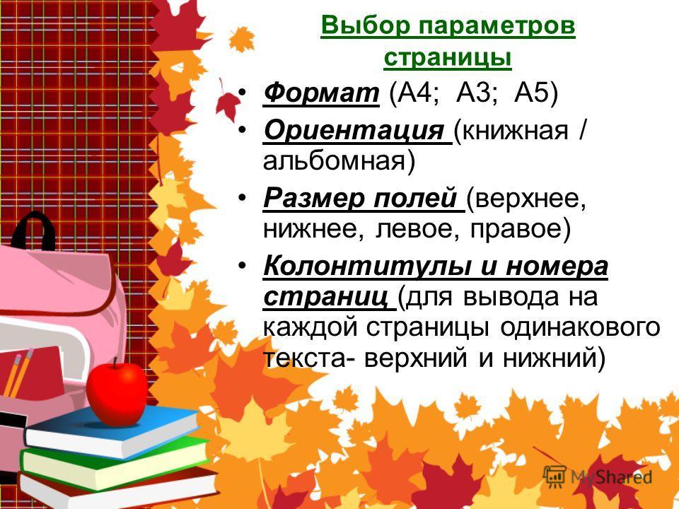 Выбор параметров страницы Формат (А4; А3; А5) Ориентация (книжная / альбомная) Размер полей (верхнее, нижнее, левое, правое) Колонтитулы и номера страниц (для вывода на каждой страницы одинакового текста- верхний и нижний)