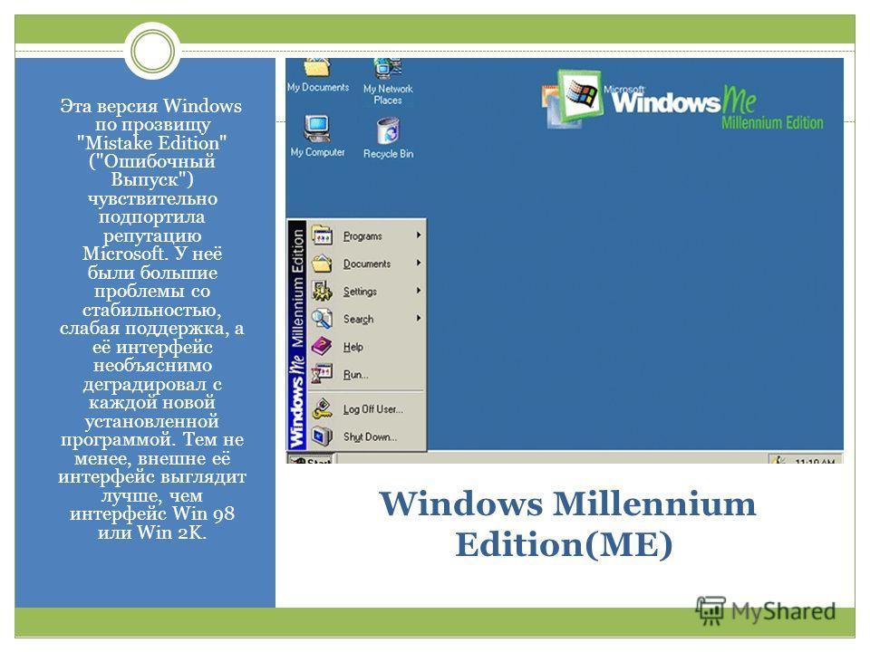 Windows Millennium Edition(ME) Эта версия Windows по прозвищу