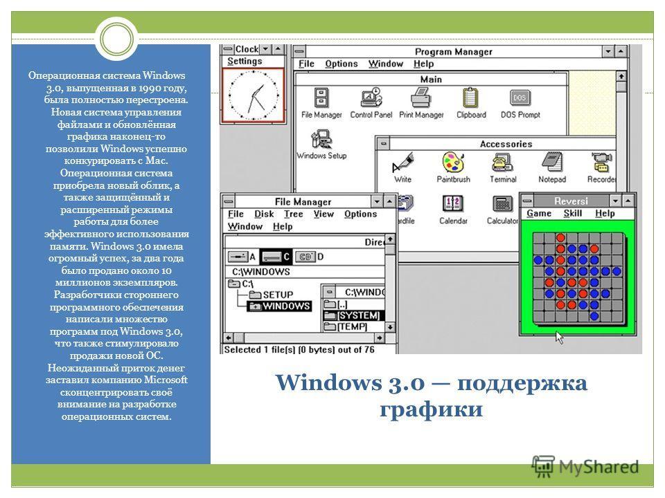 Windows 3.0 поддержка графики Операционная система Windows 3.0, выпущенная в 1990 году, была полностью перестроена. Новая система управления файлами и обновлённая графика наконец-то позволили Windows успешно конкурировать с Mac. Операционная система