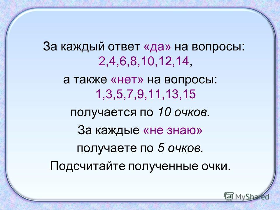 За каждый ответ «да» на вопросы: 2,4,6,8,10,12,14, а также «нет» на вопросы: 1,3,5,7,9,11,13,15 получается по 10 очков. За каждые «не знаю» получаете по 5 очков. Подсчитайте полученные очки.