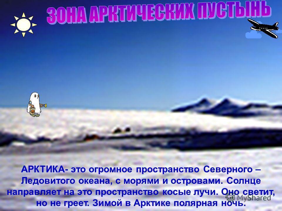 АРКТИКА- это огромное пространство Северного – Ледовитого океана, с морями и островами. Солнце направляет на это пространство косые лучи. Оно светит, но не греет. Зимой в Арктике полярная ночь.