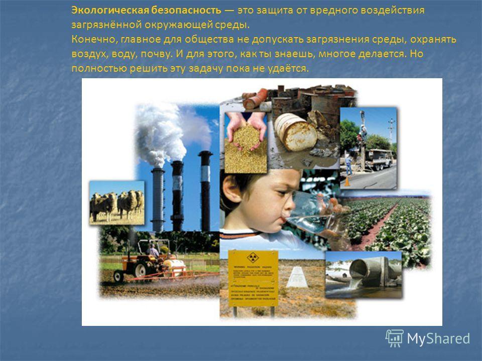 Экологическая безопасность это защита от вредного воздействия загрязнённой окружающей среды. Конечно, главное для общества не допускать загрязнения среды, охранять воздух, воду, почву. И для этого, как ты знаешь, многое делается. Но полностью решить