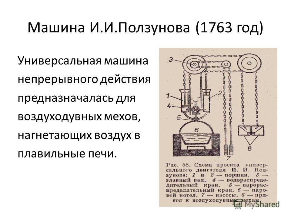 Машина И.И.Ползунова (1763 год) Универсальная машина непрерывного действия предназначалась для воздуходувных мехов, нагнетающих воздух в плавильные печи.