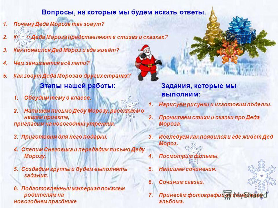 Вопросы, на которые мы будем искать ответы. 1.Почему Деда Мороза так зовут? 2.Каким Деда Мороза представляют в стихах и сказках? 3.Как появился Дед Мороз и где живёт? 4.Чем занимается всё лето? 5.Как зовут Деда Мороза в других странах? Этапы нашей ра