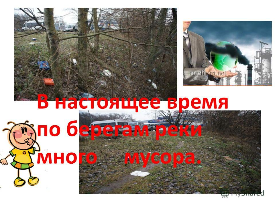 В настоящее время по берегам реки много мусора..