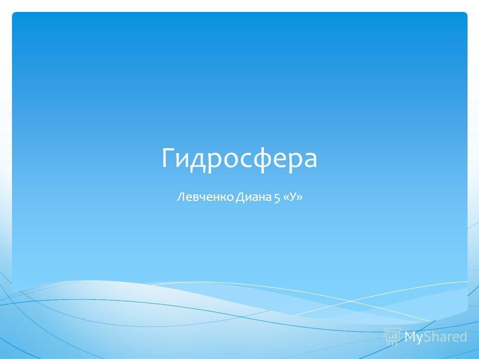 Гидросфера Левченко Диана 5 «У»