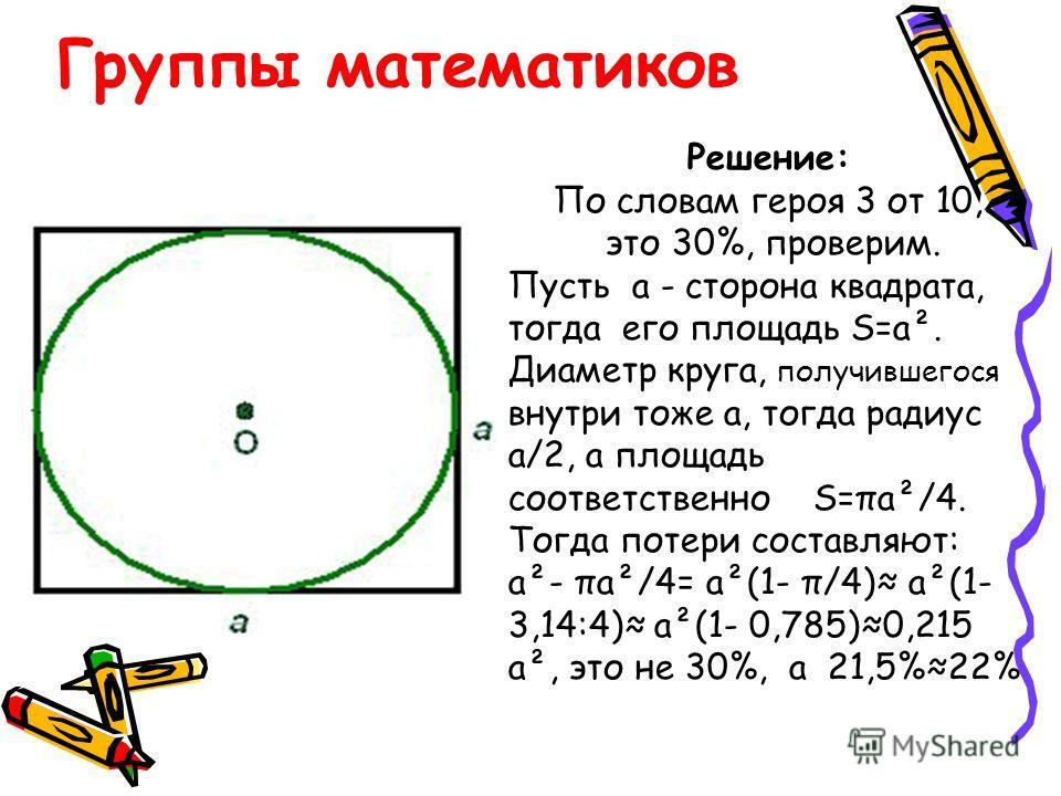 Группы математиков Решение: По словам героя 3 от 10, это 30%, проверим. Пусть а - сторона квадрата, тогда его площадь S=а². Диаметр круга, получившегося внутри тоже а, тогда радиус а/2, а площадь соответственно S=πа²/4. Тогда потери составляют: а²- π