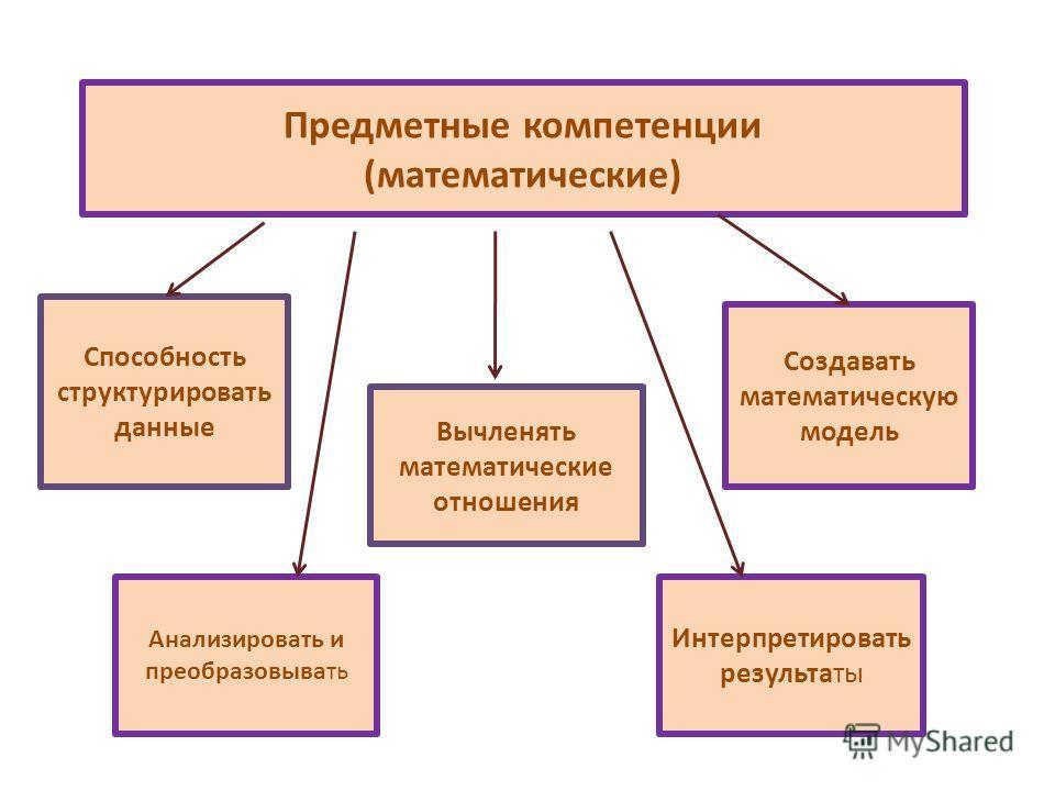 Предметные компетенции (математические) Способность структурировать данные Вычленять математические отношения Создавать математическую модель Интерпретировать результаты Анализировать и преобразовывать