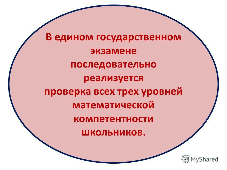 В едином государственном экзамене последовательно реализуется проверка всех трех уровней математической компетентности школьников.