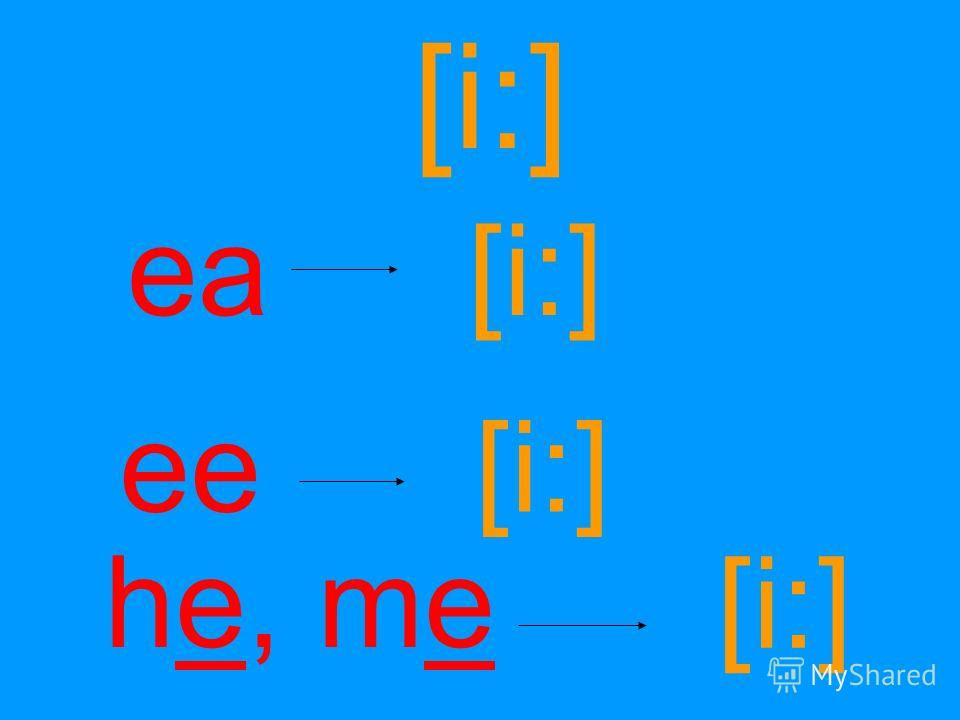 [i:] ea ee [i:] he, me [i:]