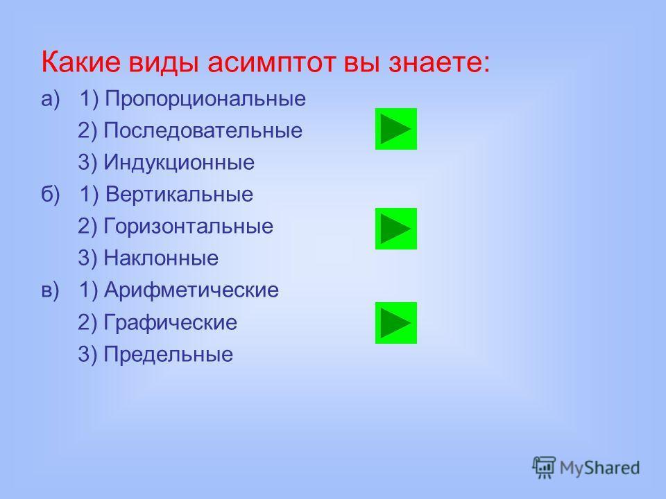 Какие виды асимптот вы знаете: а) 1) Пропорциональные 2) Последовательные 3) Индукционные б) 1) Вертикальные 2) Горизонтальные 3) Наклонные в) 1) Арифметические 2) Графические 3) Предельные