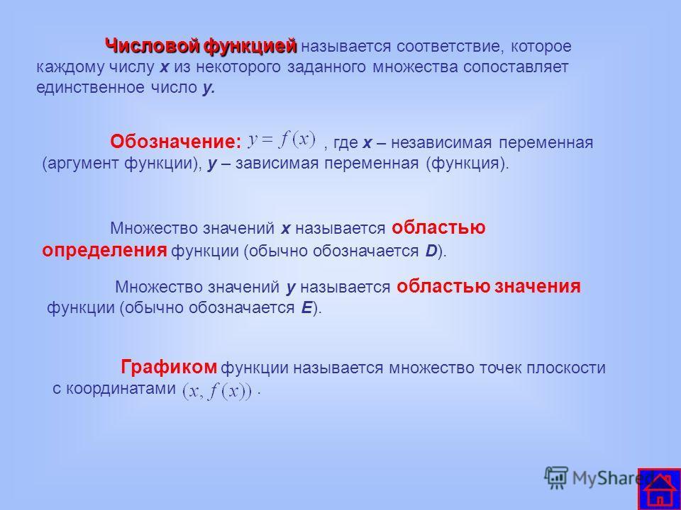Числовой функцией Числовой функцией называется соответствие, которое каждому числу х из некоторого заданного множества сопоставляет единственное число у. Обозначение:, где х – независимая переменная (аргумент функции), у – зависимая переменная (функц