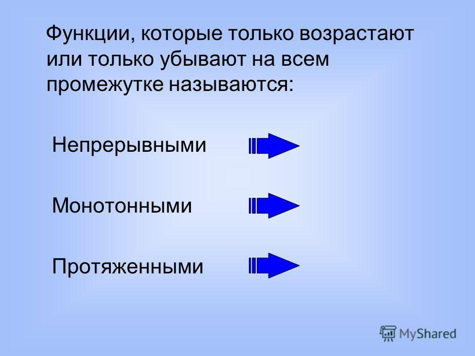 Функции, которые только возрастают или только убывают на всем промежутке называются: Непрерывными Монотонными Протяженными
