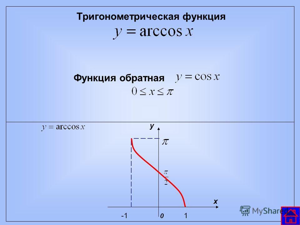 Тригонометрическая функция Функция обратная у х 1-1 0