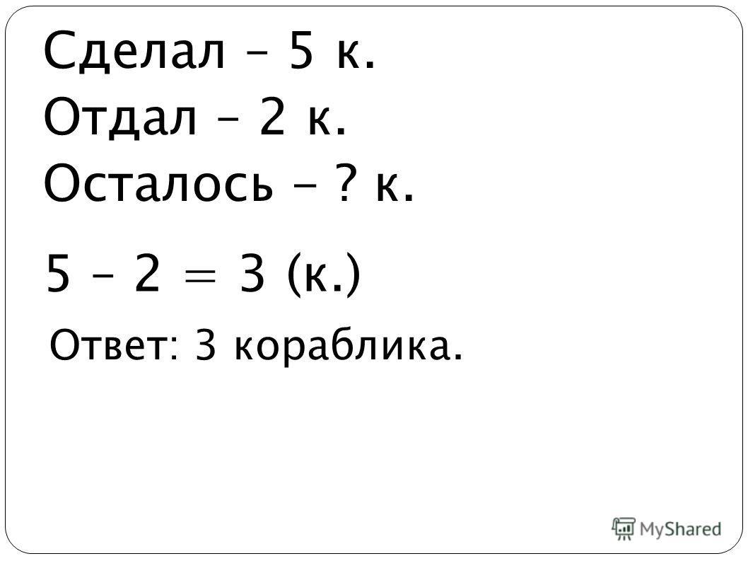 Ответ: 3 кораблика. Сделал – 5 к. Отдал – 2 к. Осталось - ? к. 5 – 2 = 3 (к.)
