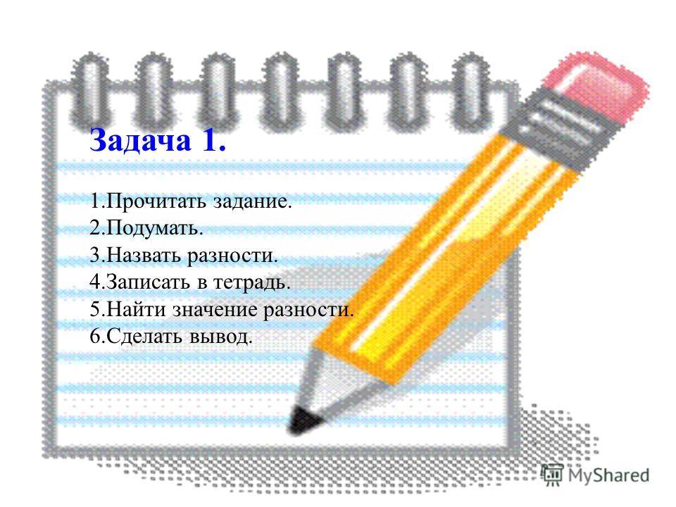 Задача 1. 1.Прочитать задание. 2.Подумать. 3.Назвать разности. 4.Записать в тетрадь. 5.Найти значение разности. 6.Сделать вывод.