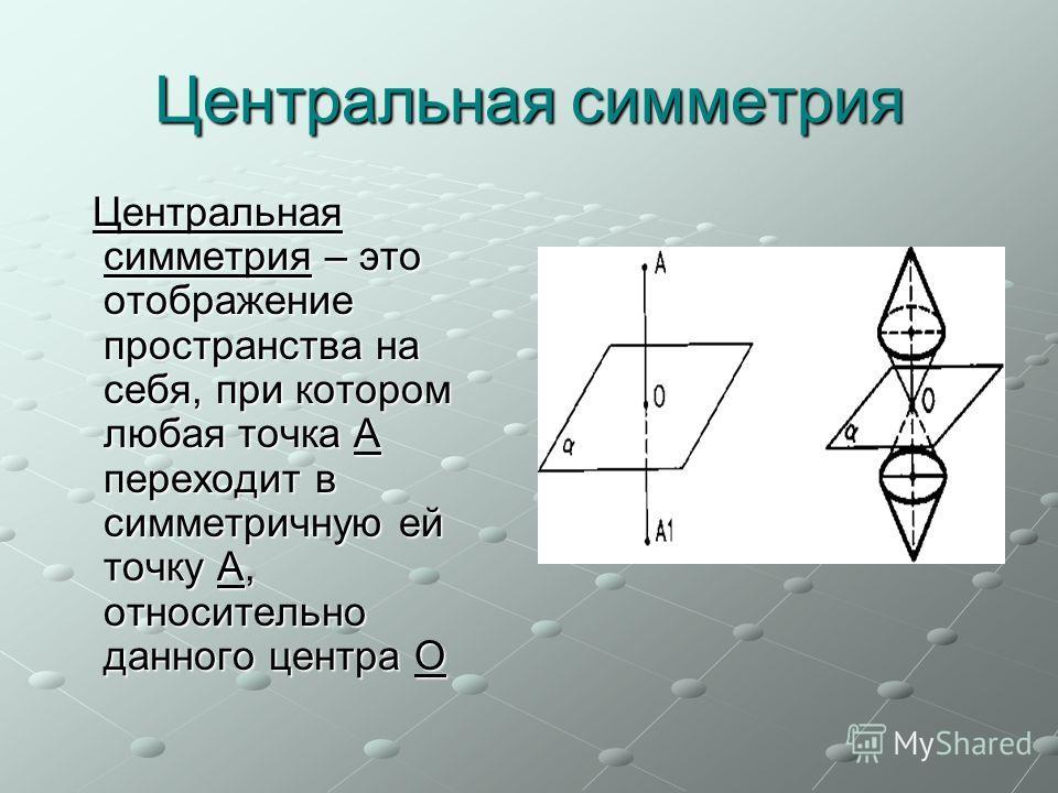 Центральная симметрия Центральная симметрия – это отображение пространства на себя, при котором любая точка А переходит в симметричную ей точку А, относительно данного центра О Центральная симметрия – это отображение пространства на себя, при котором