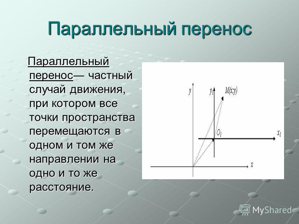 Параллельный перенос Параллельный перенос частный случай движения, при котором все точки пространства перемещаются в одном и том же направлении на одно и то же расстояние. Параллельный перенос частный случай движения, при котором все точки пространст