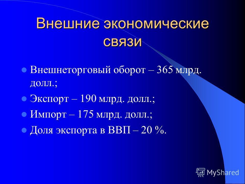 Внешние экономические связи Внешнеторговый оборот – 365 млрд. долл.; Экспорт – 190 млрд. долл.; Импорт – 175 млрд. долл.; Доля экспорта в ВВП – 20 %.