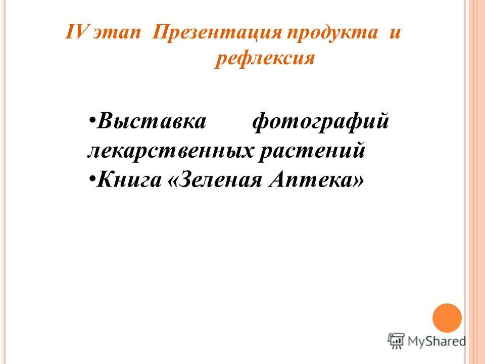 IV этап Презентация продукта и рефлексия Выставка фотографий лекарственных растений Книга «Зеленая Аптека»