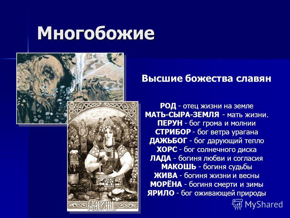 Многобожие Высшие божества славян РОД - отец жизни на земле МАТЬ-СЫРА-ЗЕМЛЯ - мать жизни. ПЕРУН - бог грома и молнии СТРИБОР - бог ветра урагана ДАЖЬБОГ - бог дарующий тепло ХОРС - бог солнечного диска ЛАДА - богиня любви и согласия МАКОШЬ - богиня с