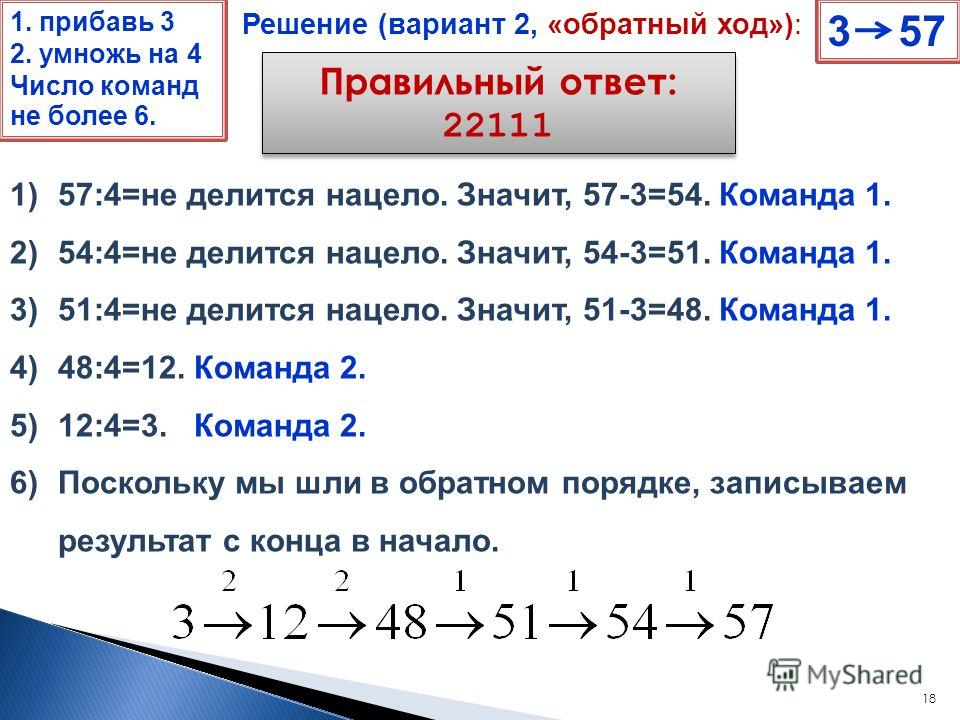 18 Правильный ответ: 22111 3 57 Решение (вариант 2, «обратный ход»): 1)57:4=не делится нацело. Значит, 57-3=54. Команда 1. 2)54:4=не делится нацело. Значит, 54-3=51. Команда 1. 3)51:4=не делится нацело. Значит, 51-3=48. Команда 1. 4)48:4=12. Команда