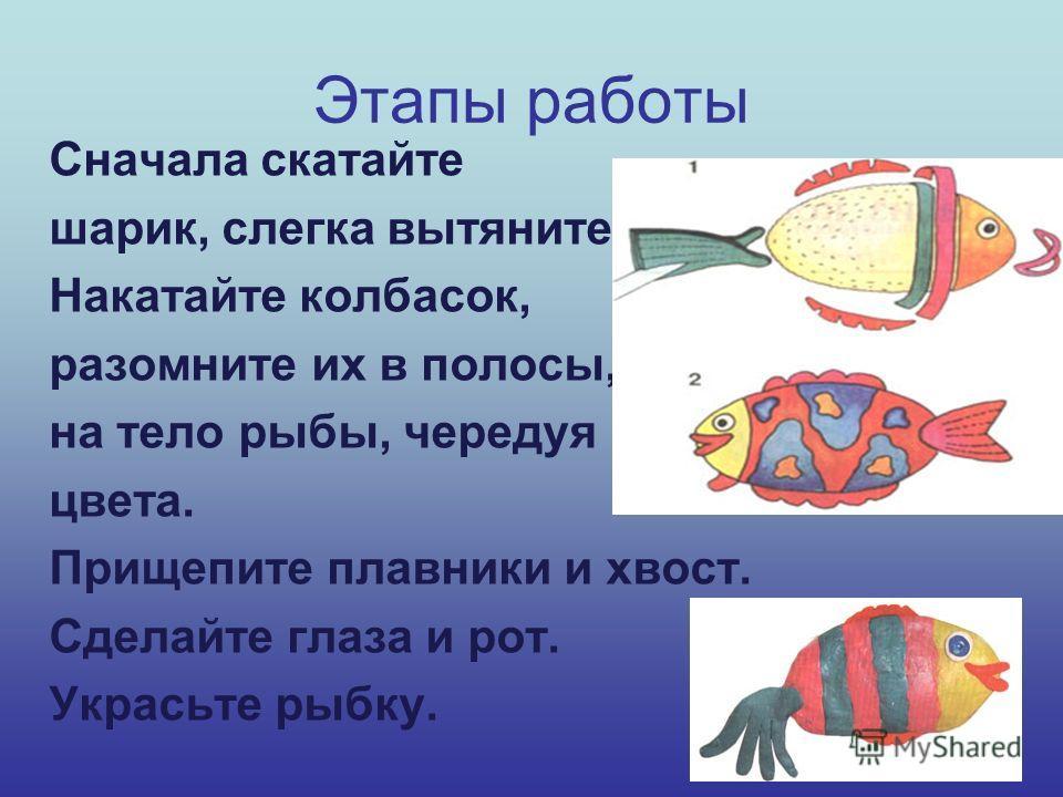 Этапы работы Сначала скатайте шарик, слегка вытяните. Накатайте колбасок, разомните их в полосы, прилепите их на тело рыбы, чередуя цвета. Прищепите плавники и хвост. Сделайте глаза и рот. Украсьте рыбку.