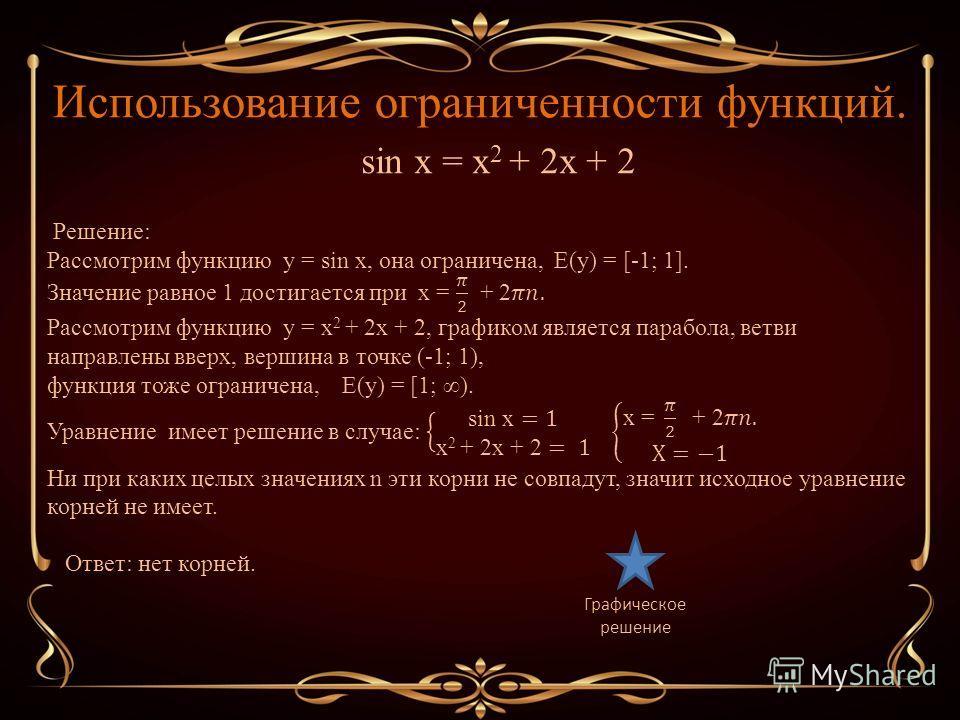 Использование ограниченности функций. Графическое решение sin x = x 2 + 2x + 2