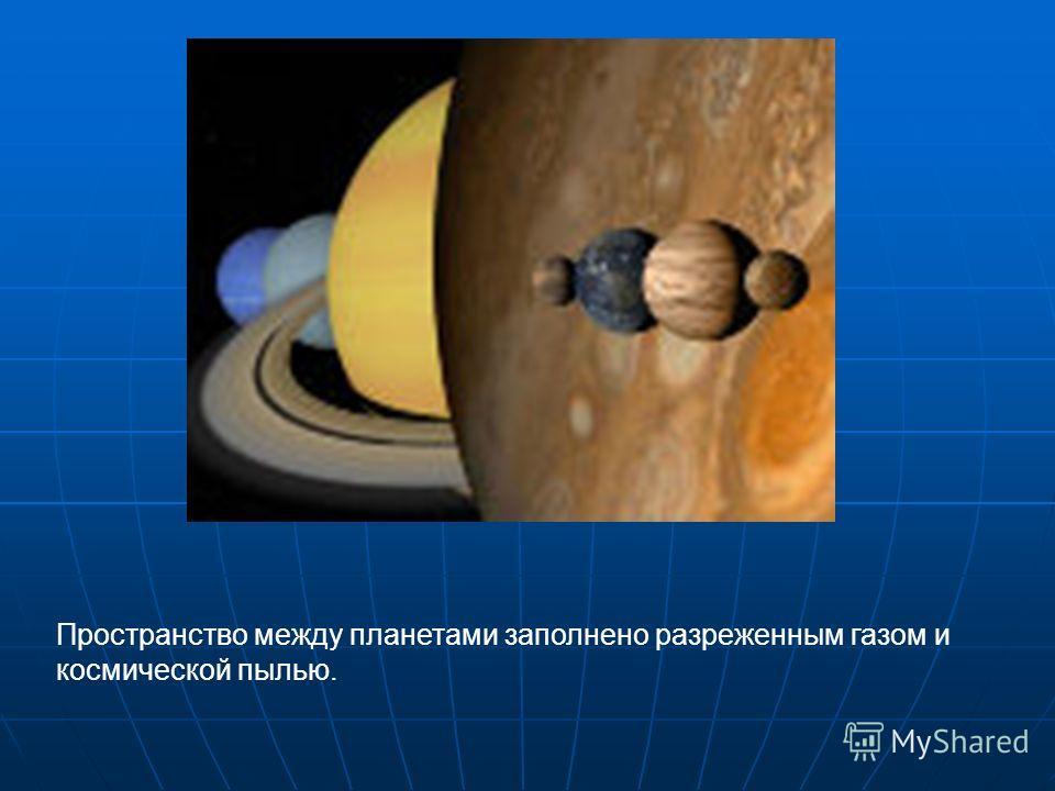 Пространство между планетами заполнено разреженным газом и космической пылью.