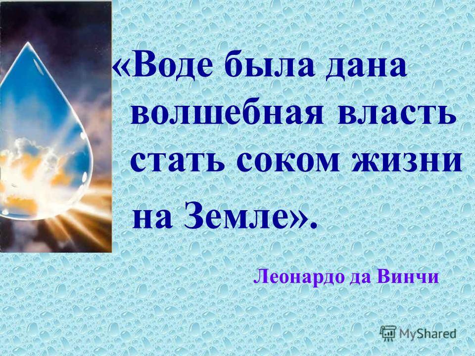 «Воде была дана волшебная власть стать соком жизни на Земле». Леонардо да Винчи