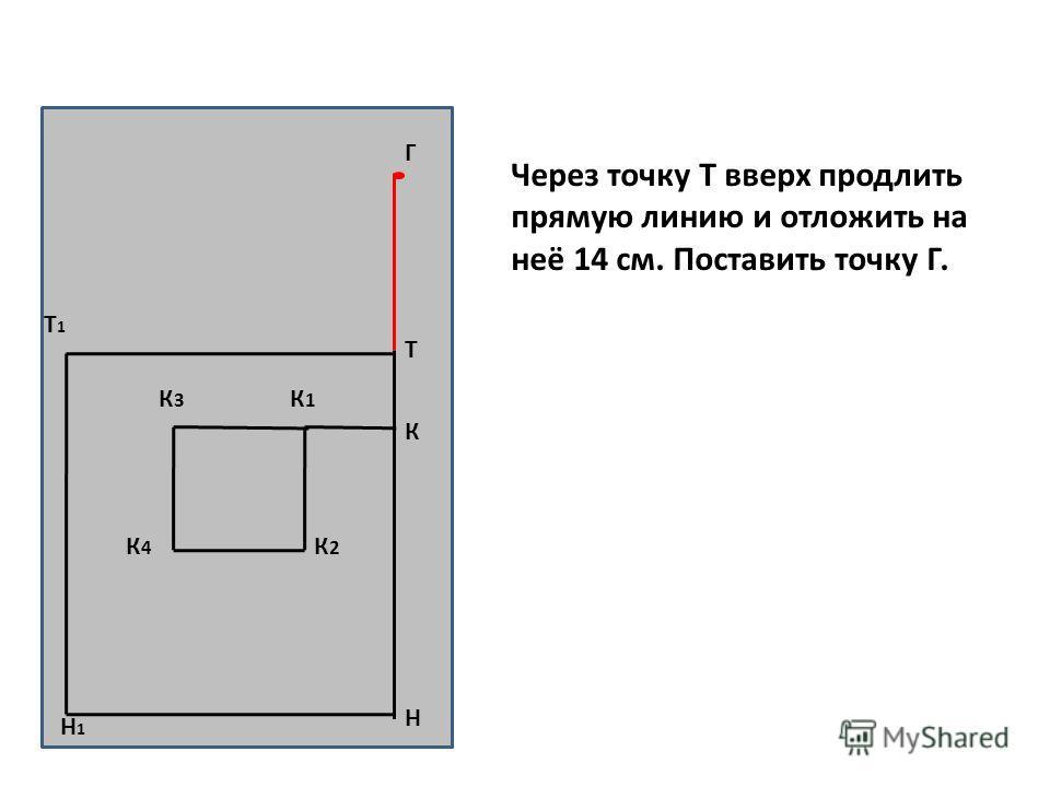 Н Т Т1Т1 Н1Н1 К К1К1 К3К3 К2К2 К4К4 Г Через точку Т вверх продлить прямую линию и отложить на неё 14 см. Поставить точку Г.